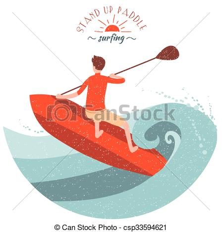 Vector Illustration of Stand Up Paddle Surfing. Young boy rides on.
