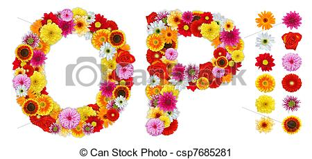 Clipart of Characters O and P made of various flowers. Standalone.