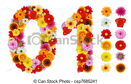 Clipart of Numbers 0 and 1 made of various flowers. Standalone.