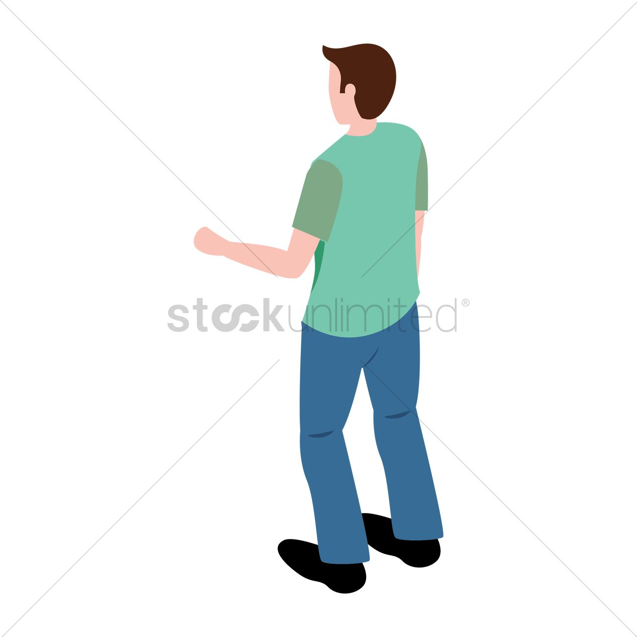 Boy Standing Back View Clipart.