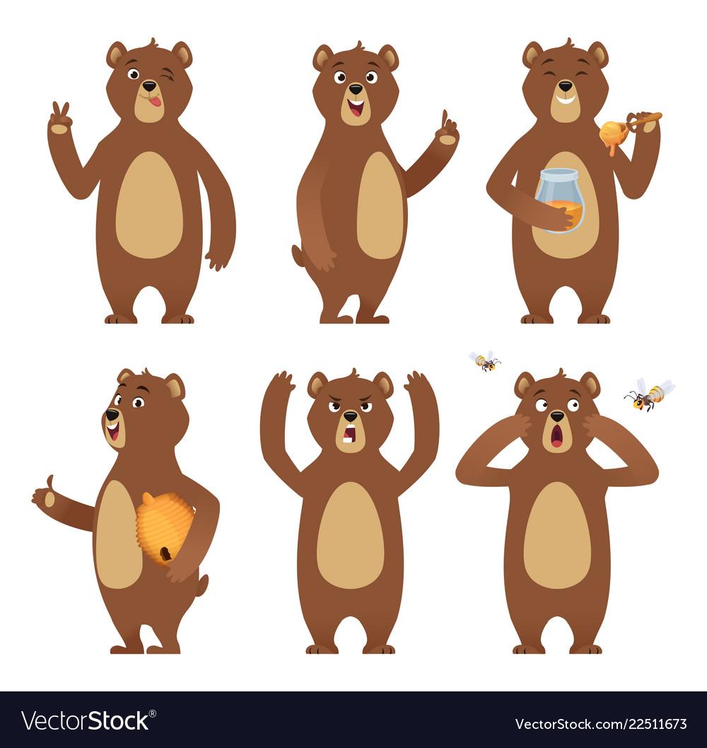 Brown bear cartoon wild animal standing at.