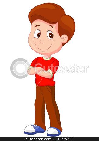 Cute boy cartoon standing stock vector.