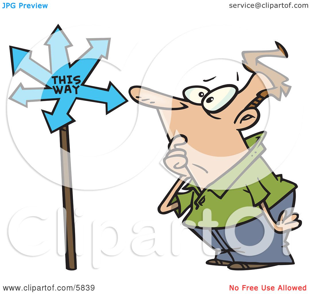 Confused Man Looking at a Sign That Points in Many Directions.