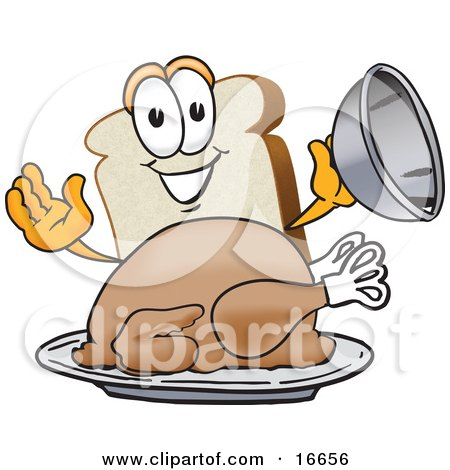 Clipart Picture of a Slice of White Bread Food Mascot Cartoon.