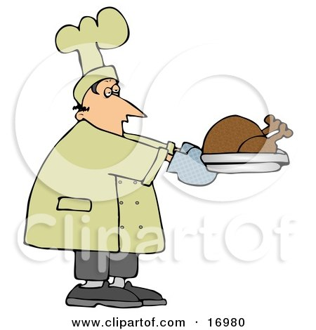 Clipart Illustration of a Confused Live Turkey Bird In A Big Pot.