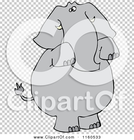 Cartoon of an Elephant Standing and Begging.