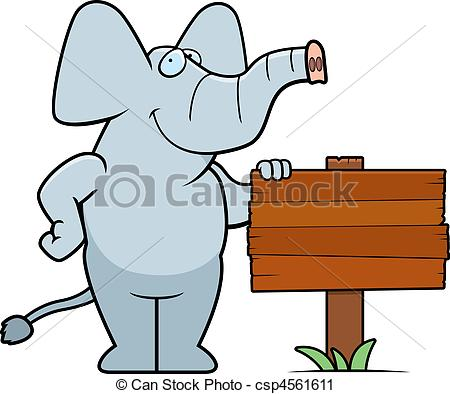 Vector Clip Art of Elephant Sign.
