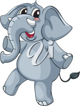 Standing Elephant Clipart.