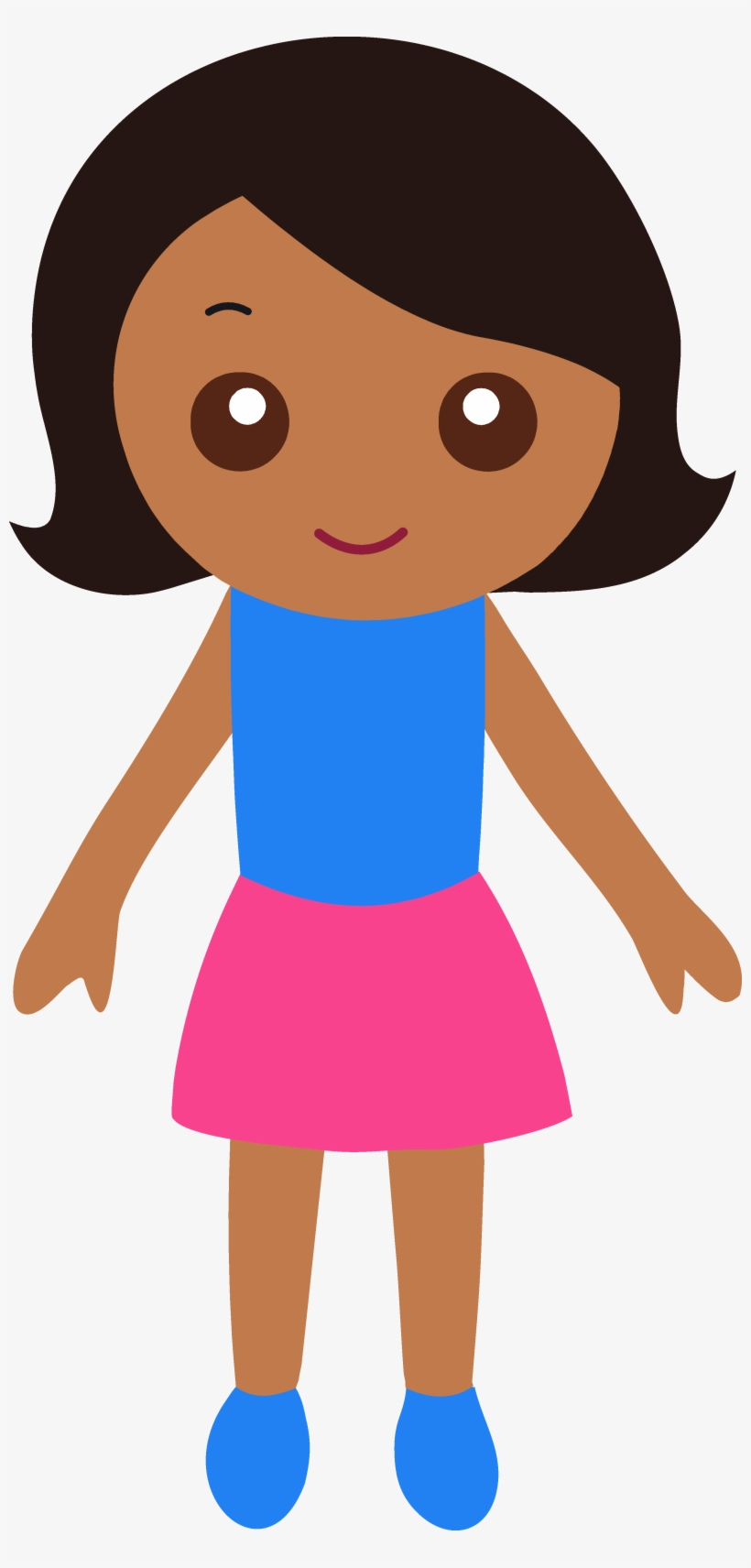 Cute Brown Girl Standing Clipart.