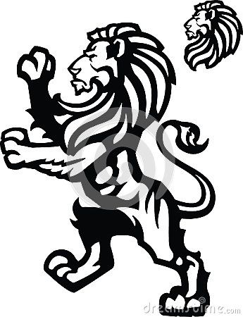 Standing Lion for Coat of Arms, or Heraldic Logo.