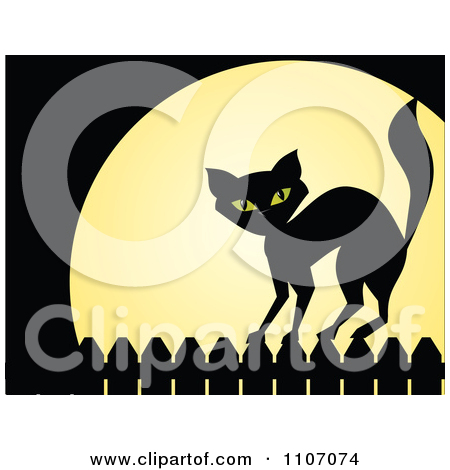Clipart Black Cat Standing On A Fence Against A Full Moon On.