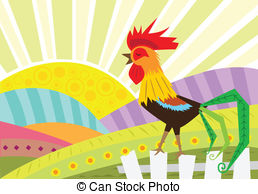 Rooster on a fence Clip Art Vector and Illustration. 32 Rooster on.