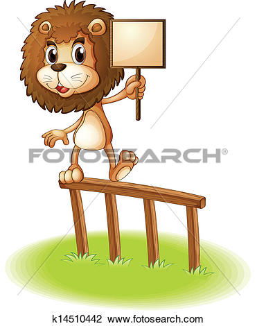 Clipart of A lion standing on a wooden fence holding an empty.