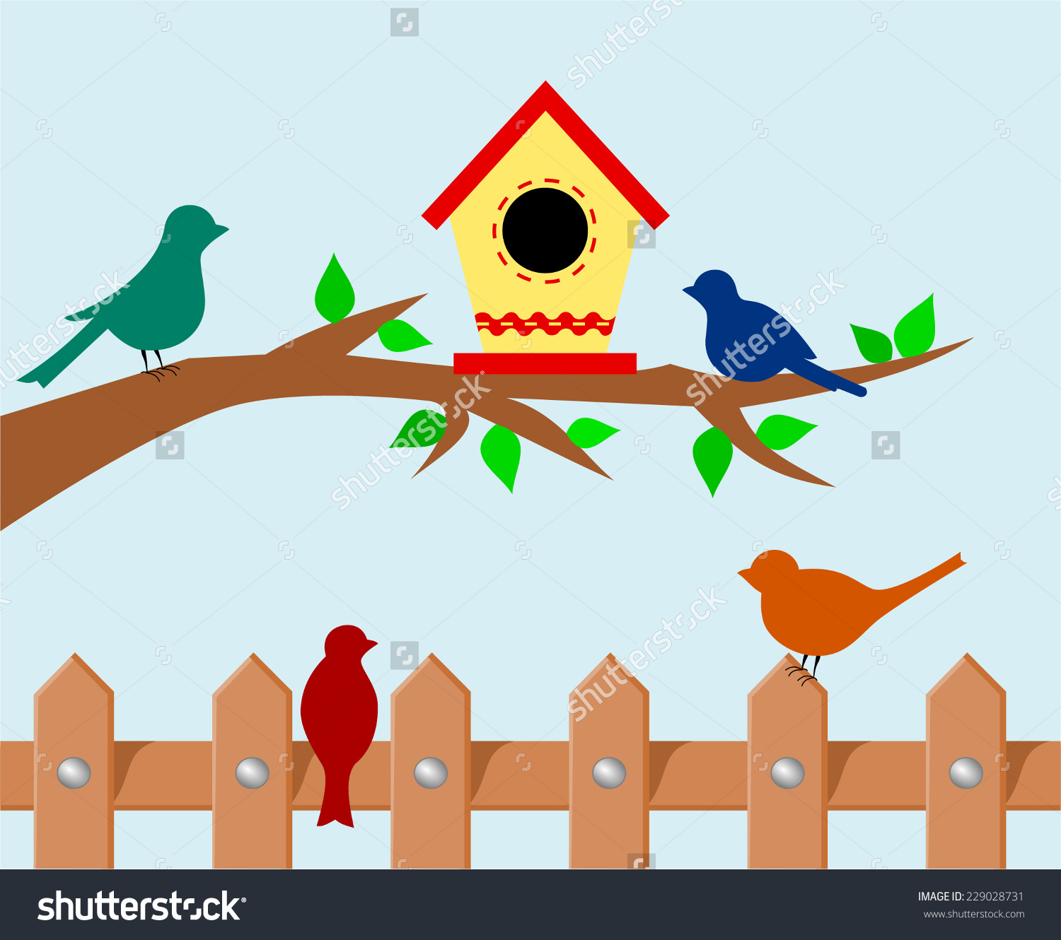Tree Branch Bird House Set Colorful Stock Vector 229028731.