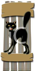 Sign_Black_Cat_Standing_on_a_Fence_Royalty_Free_Clipart_Picture_100214.