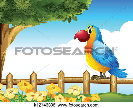 Clip Art of A bird standing on a fence k12746306.