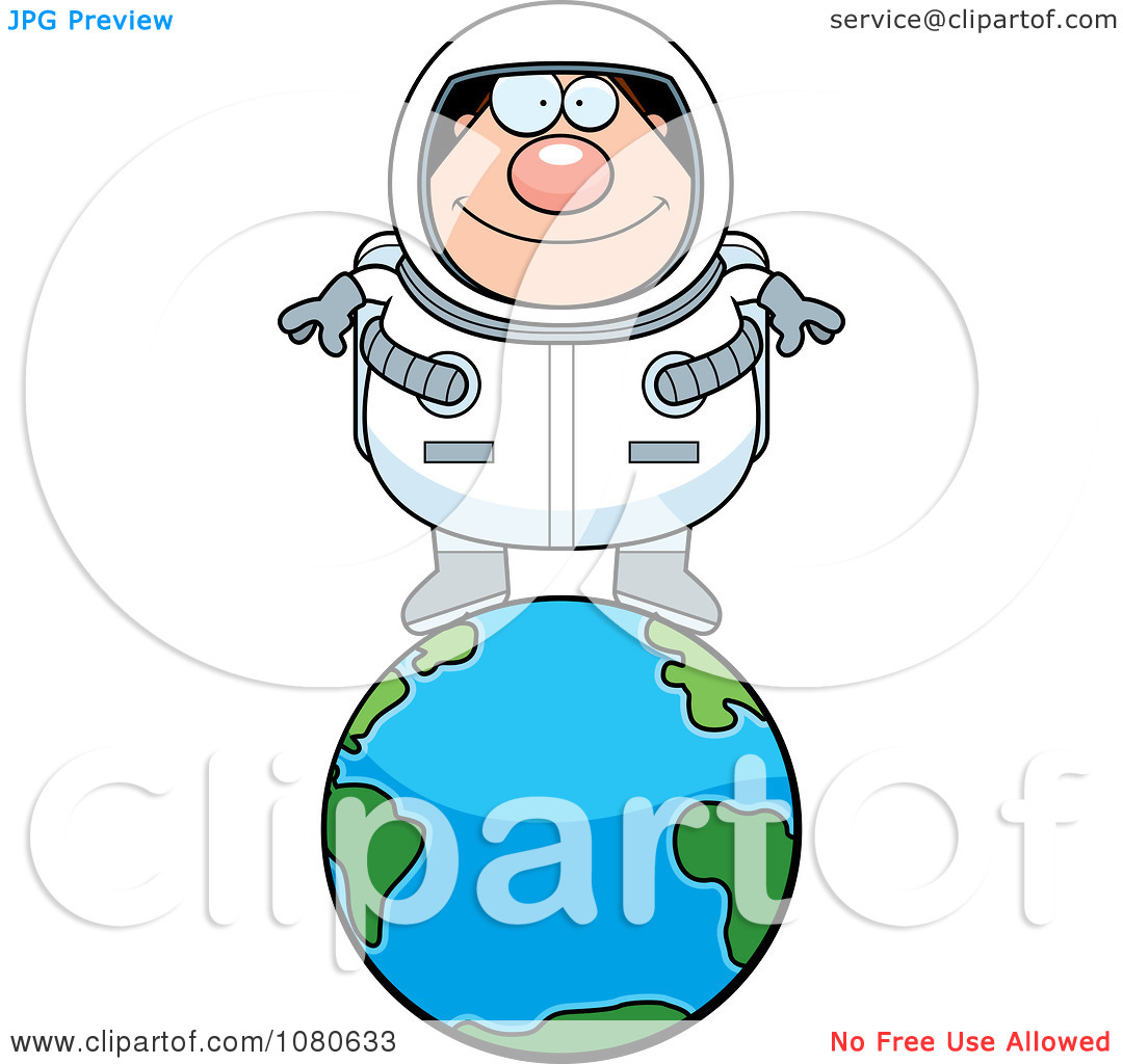 Clipart Chubby Astronaut Standing On Top Of Earth.