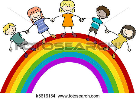 Drawings of Kids Standing on Top of a Rainbow k5616154.