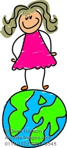 Clipart Image of Happy Little Girl Standing On a Globe.