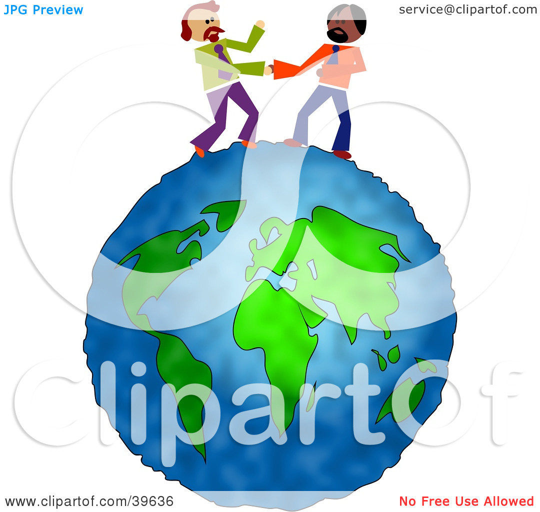 Clipart Illustration of Two Businessmen Standing On Top Of Thew.