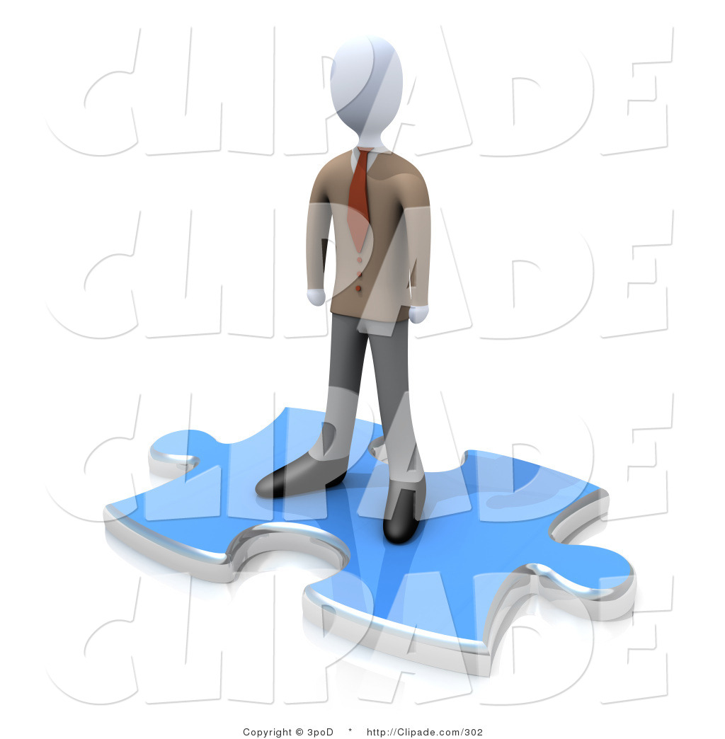 Clip Art of a Professional Business Man Standing on Top of a Large.