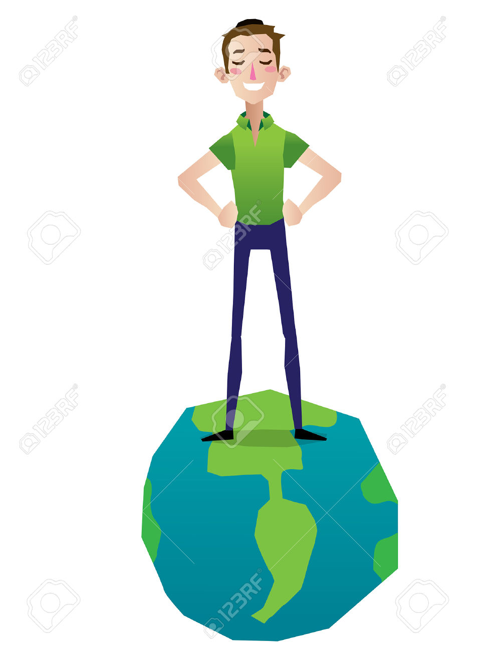 Man Standing In Top Of The World Proud And Happy Illustration.
