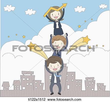Clip Art of business people standing on top of each other.