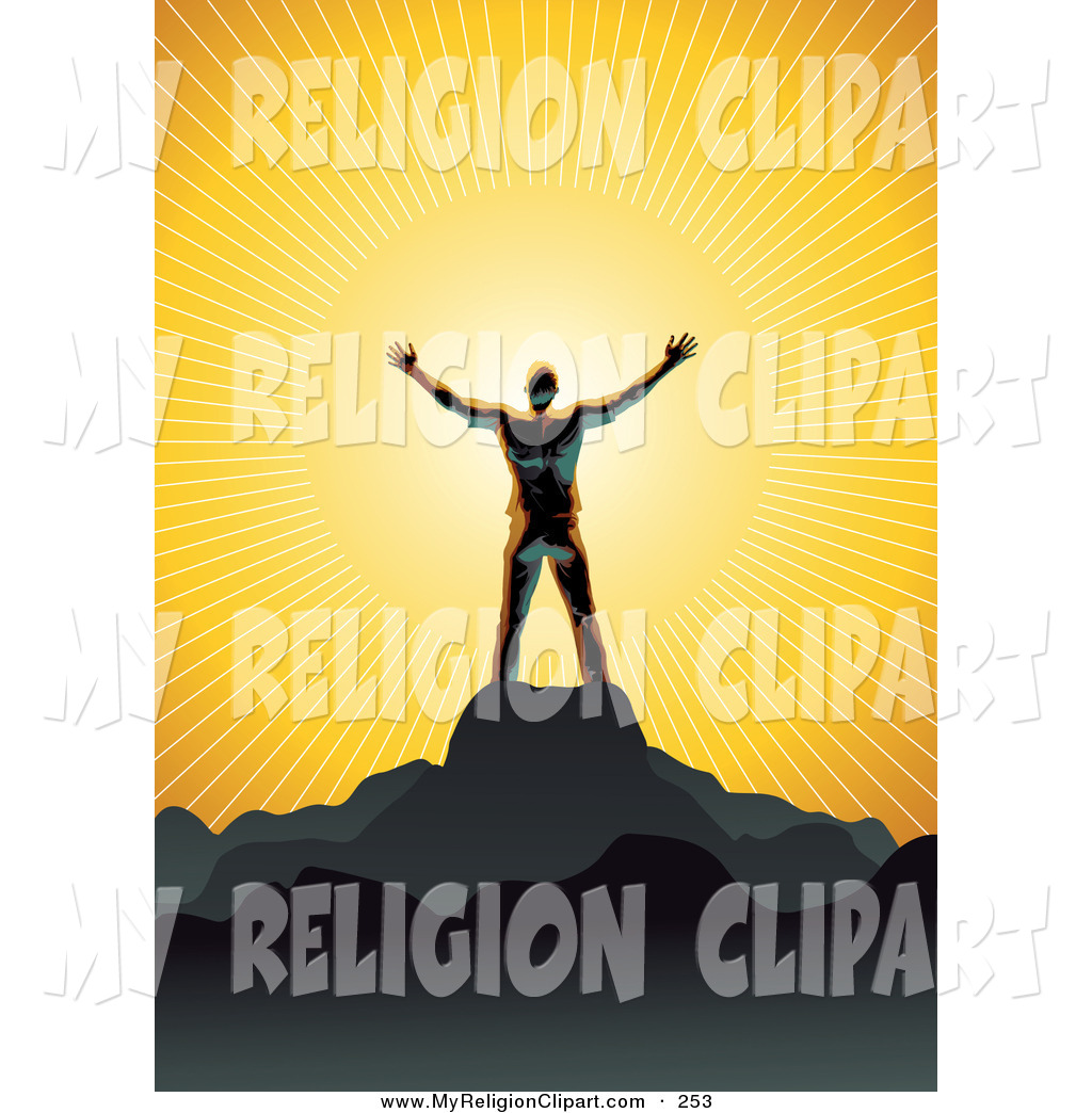 Religion Clip Art of a Shiny Man Silhouetted in Gray, Standing on.