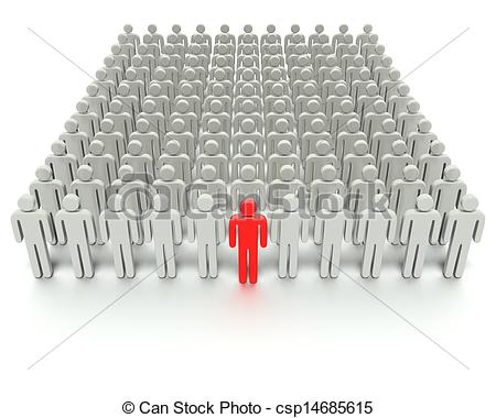 Clipart of Standing Out From The Crowd.