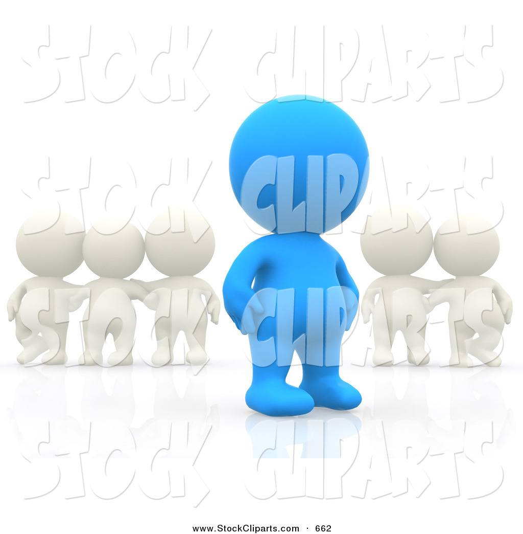 3D Clip Art of a 3d Teeny Person Standing out from a Group of.