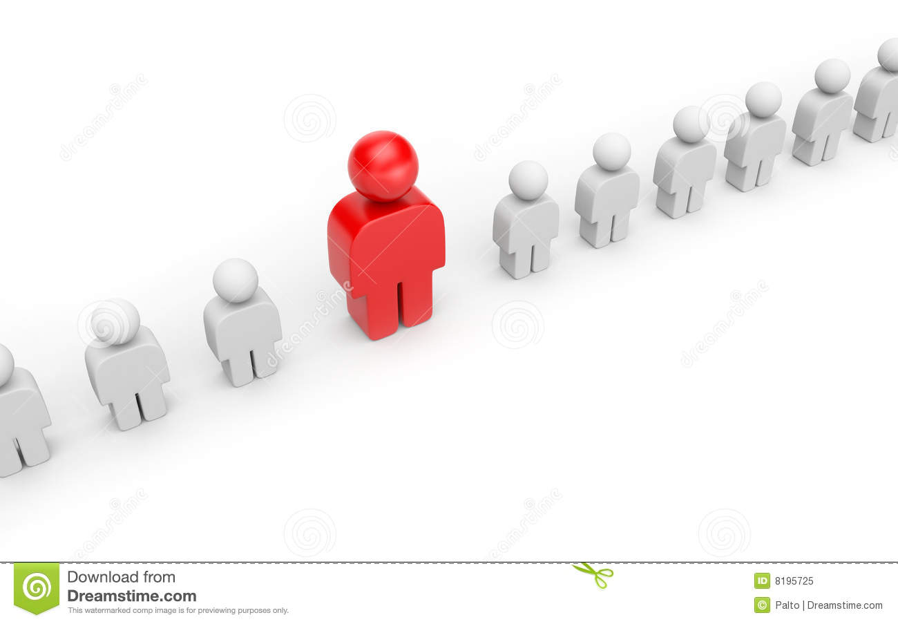Woman Standing Out Crowd Stock Illustrations.