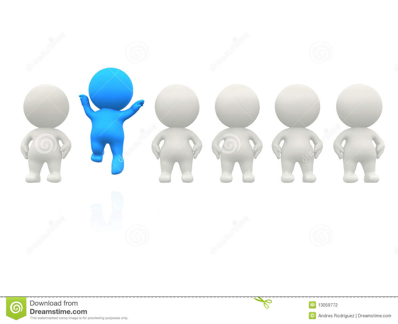 Standing Out 3D Man Royalty Free Stock Photo.