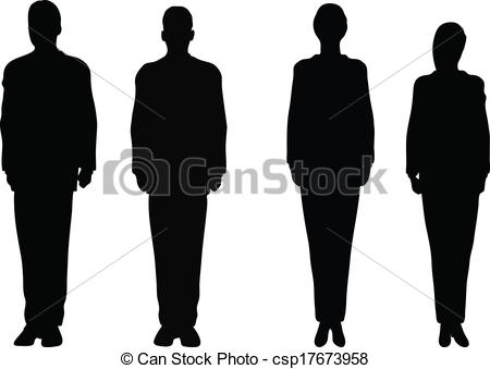 Clipart Vector of Business people standing still in silhouette.