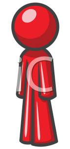 Red Man Standing Still Clipart Image.
