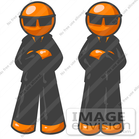 Clip Art Graphic of Two Orange Guy Characters In Black Suits And.