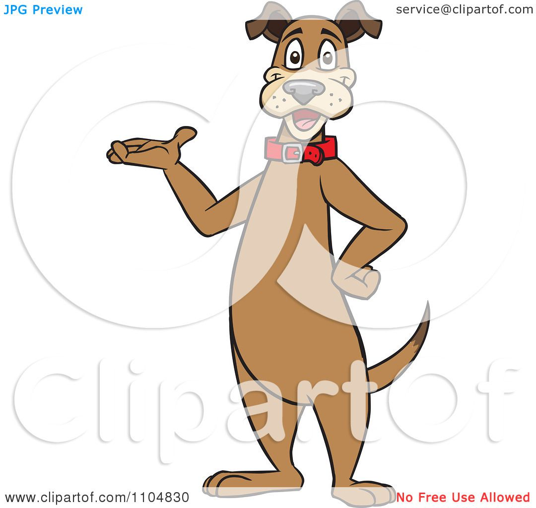 Clipart Happy Brown Dog Standing Upright And Presenting.