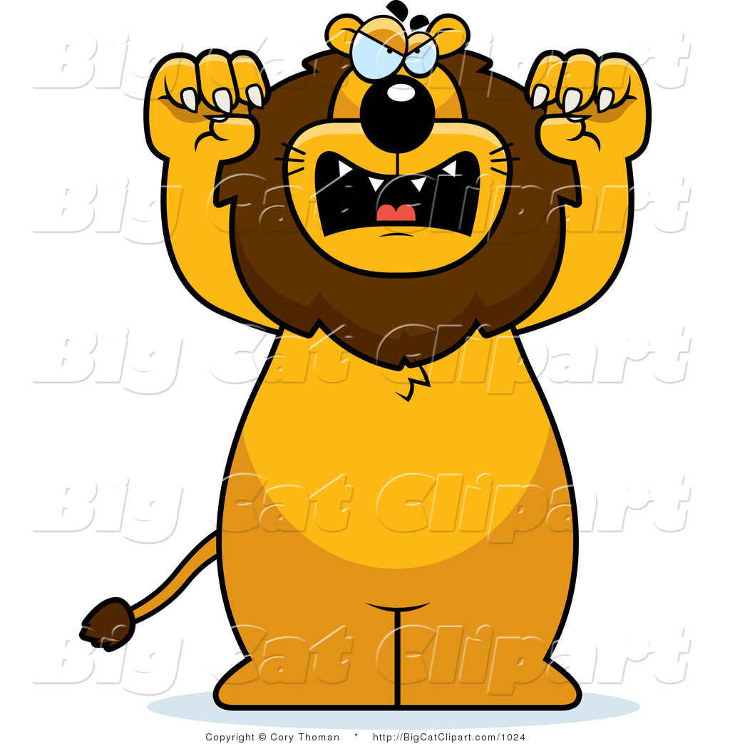 Big Cat Vector Clipart of a Mad Lion Standing Upright by Cory.