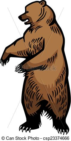 Clip Art Vector of Grizzly Bear Standing Up.