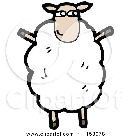 Cartoon of a Sheep Standing Upright.
