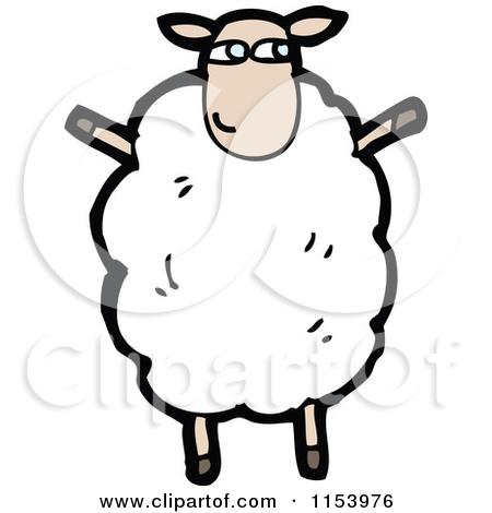 Cartoon of a Sheep Standing Upright.