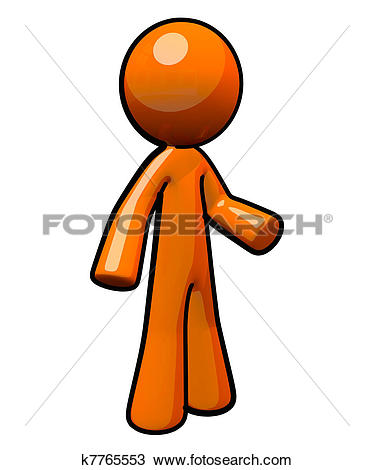 Clipart of 3D Orange Man Standing Upright With Ball Point Pen.