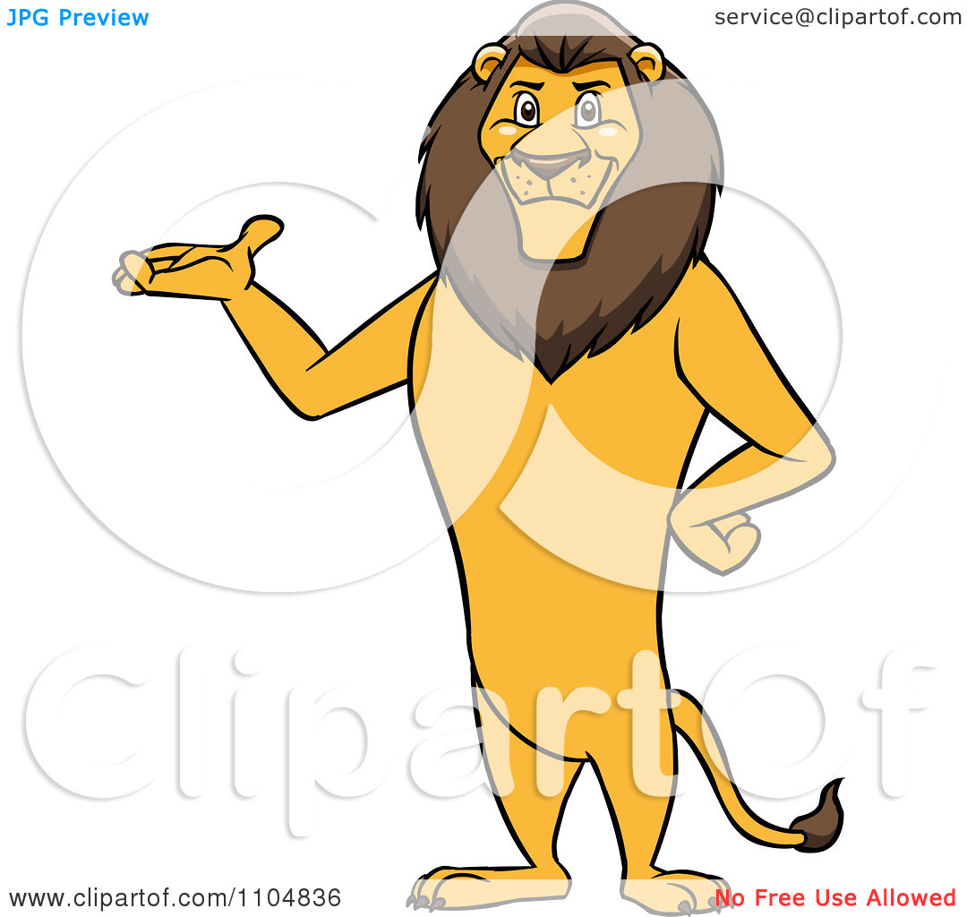 Clipart Happy Male Lion Presenting And Standing Upright.
