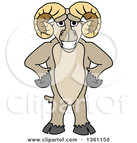 Clipart of a Ram School Mascot Character Standing Upright with.