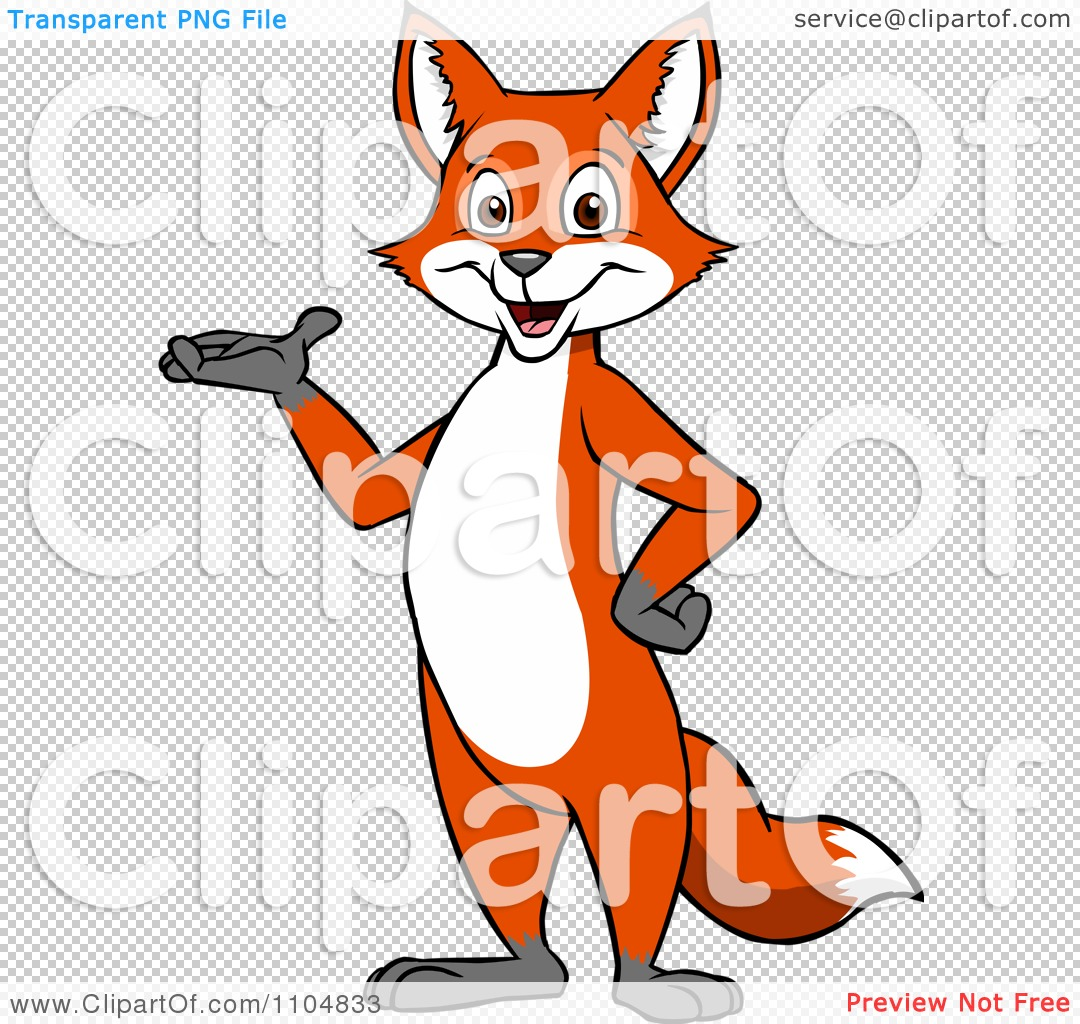 Clipart Happy Fox Presenting And Standing Upright.