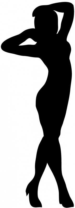 Standing Woman Black And White Clipart.