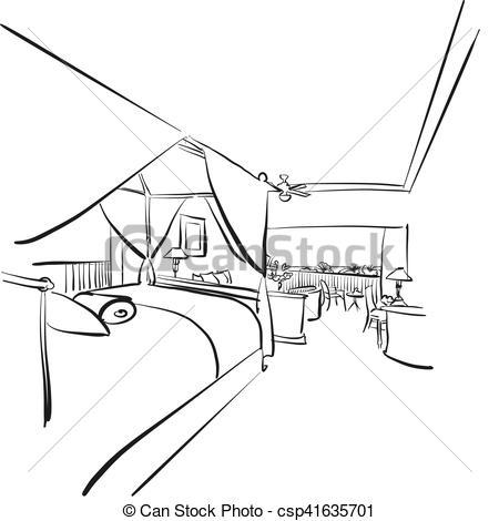 interieur, balcone hotel, stanza, sketched.