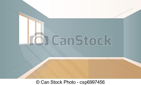 Clip Art Vector of Virtual model room with natural sun light.