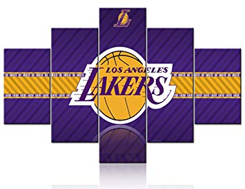 Los Angeles Lakers Logo Canvas Wall Art NBA Paintings 5 Pcs Artwork  Basketball Sports in Staples Center Artwok Home Decor for Living Room  Framed.