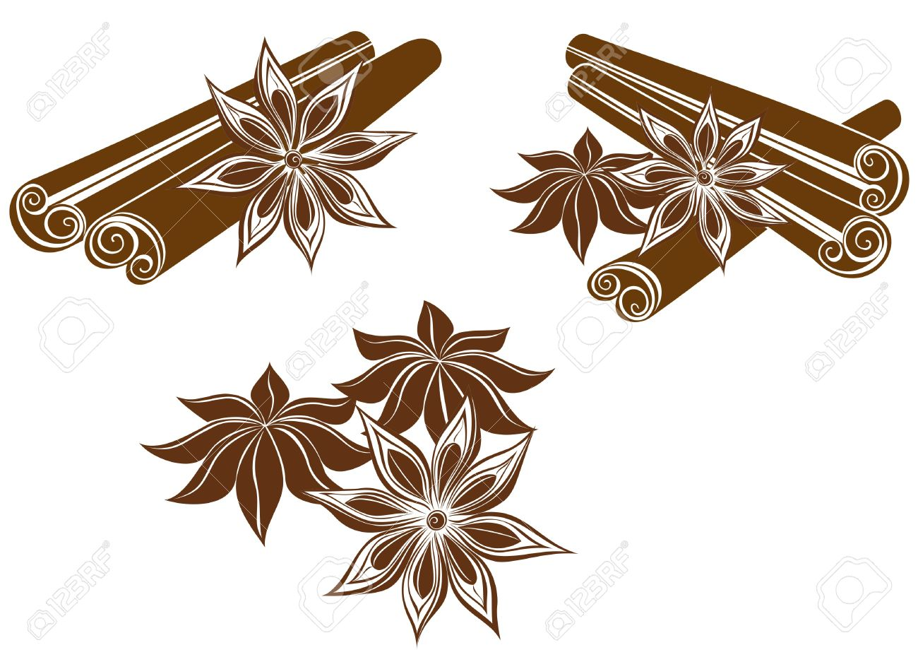 Star Anise With Cinnamon Sticks Isolated On White Royalty Free.