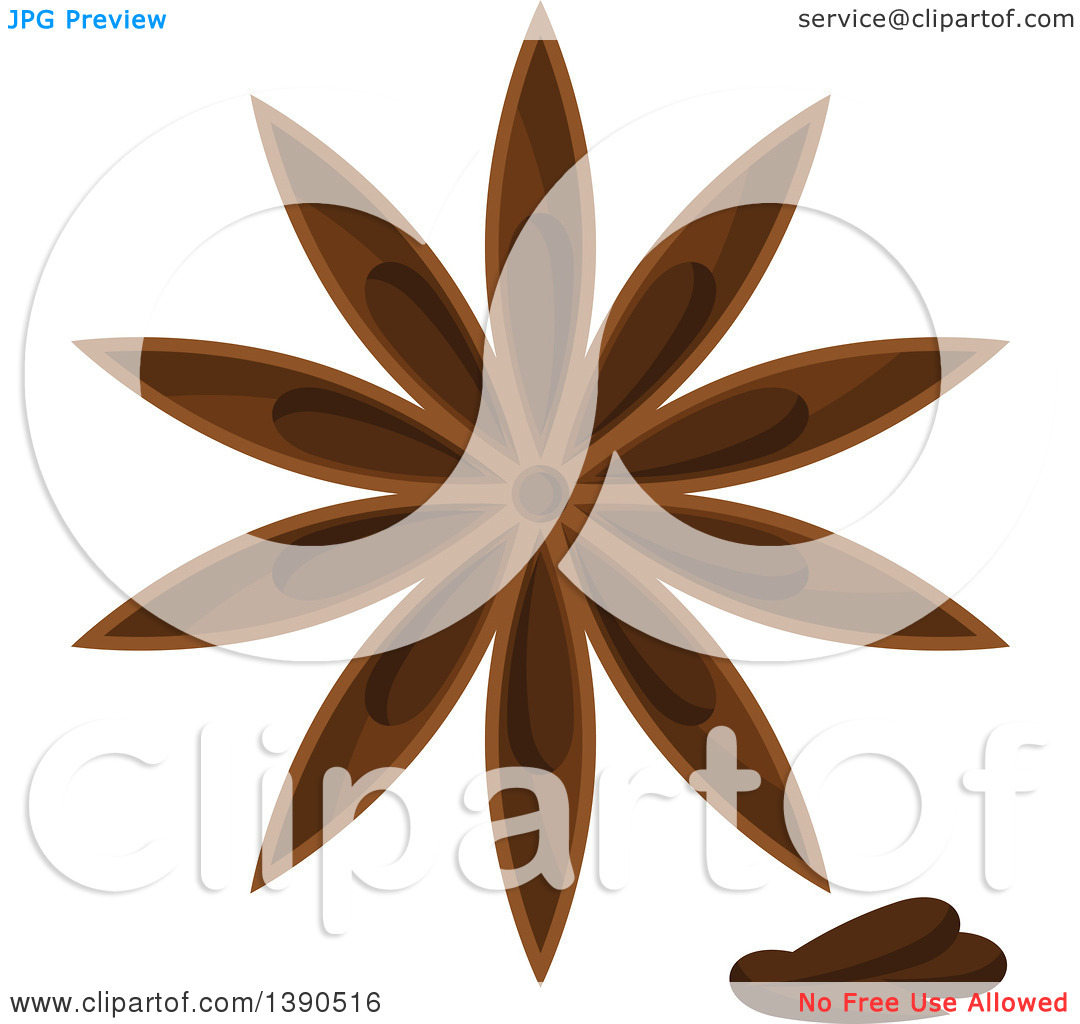 Clipart of a Culinary Spice Herb, Star Anise.
